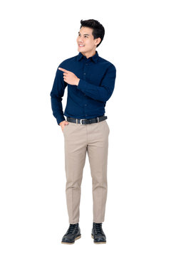 Handsome young Asian man wearing smart casual clothes