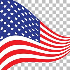 Flag of the USA. American symbol. US flag icon. Illustration for Independence Day July 4.