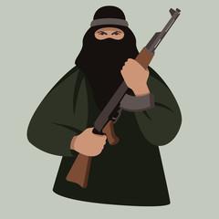 terrorist with gun ,vector illustration, flat style