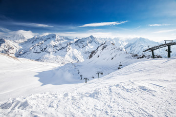 Fototapete - View of Tonale ski resort with Rhaetian Alps, Tonale pass, Italy, Europe
