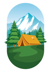 camping ground design flat vector