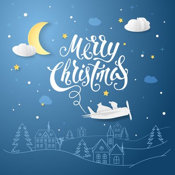 Night scene with text Merry Christmas and vector realistic paper airplane with Santa Claus and bag of gifts. Greeting card with hand drawn christmas village and clouds, stars, moon in paper cut style.