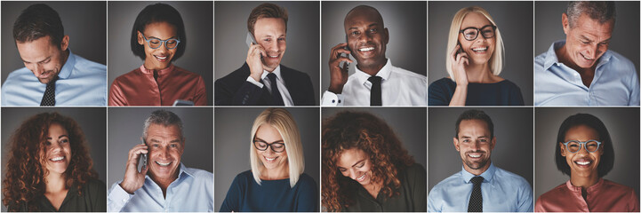Smiling group of diverse businesspeople using cellphones