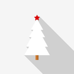 White Christmas tree icon with a red star and long shadow on white background. Vector Illustration EPS 10