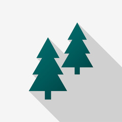Green coniferous trees icons with long shadow on white background. Vector Illustration EPS 10