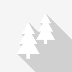 White coniferous trees icons with long shadow on white background. Vector Illustration EPS 10