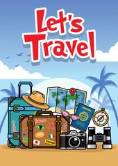 summer travel cartoon style