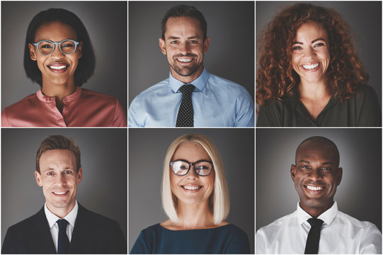 Diverse group of smiling young businessmen and businesswomen