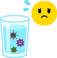 グラスに入った水と雑菌