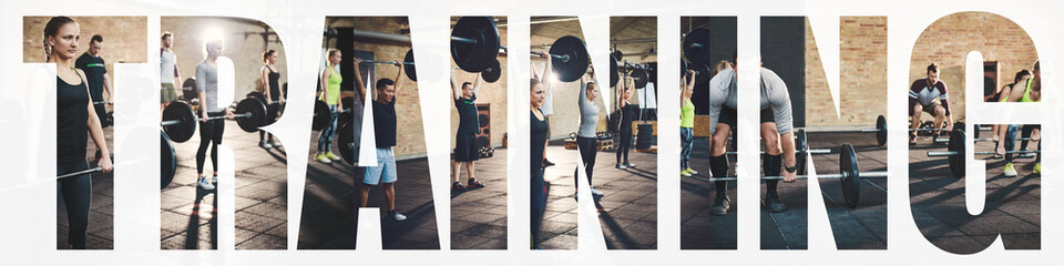 Keuken foto achterwand Fitness Collage of fit people training with weights in a gym