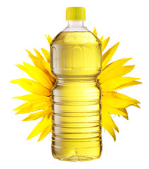 Bottle of sunflower oil and sunflower at the background. File contains clipping path.
