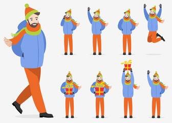 A man in winter clothes in various poses on a white background. Set of flat illustrations for design.