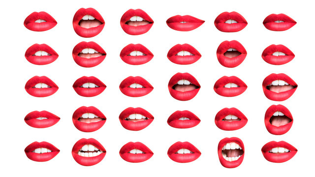 collection of red lips