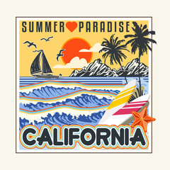 Artwork with sun and the other ocean, american wave, California badge. For surf t-shirt. Paradise t shirt slogan, handwriting summer script. Retro shirt, vector illustration.