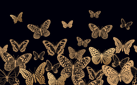 Luxury seamless pattern with gold butterflies on black background