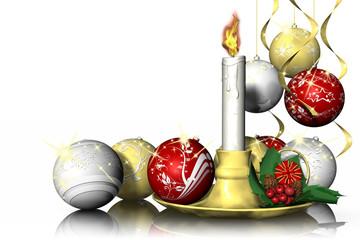 Natale. Candela e decorazioni natalizie. Sfondo bianco.