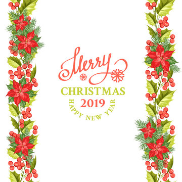 Merry christmas card with line border of misletoe wreath. Happy new year 2019. Christmas flower frame. Vector illustration.