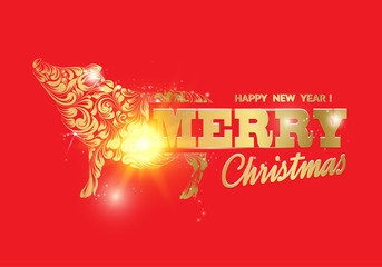 The pig - a new year symbol of 2019. Merry christmas card over red background with golden piglet. Text sign Merry Christmas. Vector illustration.