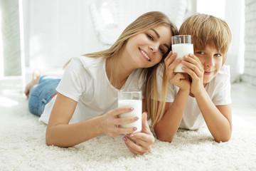 Family drinking milk