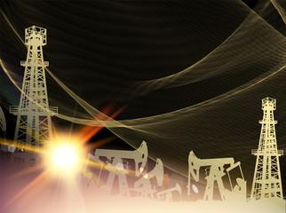 Oil pumps and derricks. Pump Jack Oil Crane. Industrial image with golden style over black background. Vector illustration.