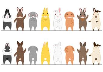 cute rabbits border set