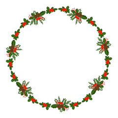 Round frame with Holly berry, pine branch and cone. Decorative frame for traditional wreath on door to Christmas, New year. For greeting card, vignette, banner, email for holiday.