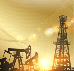 Oil pumps and derricks over the abstract golden background. Vector illustration.