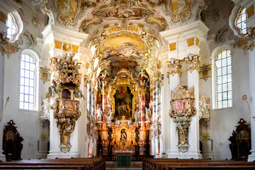 Pilgrimage Church of Wies, interior of the church - Wieskirche at Steingaden on the romantic road in Bavaria, Germany Fototapete