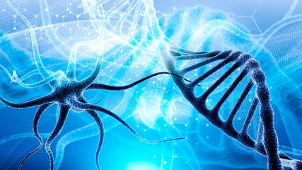 3d DNA molecule consists of the collapsing of moving particles. Genetic mutation and combating viruses. Science and medic concept background. Destroyed structure. Nano technology.