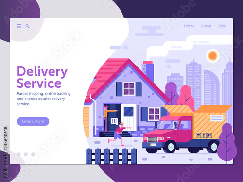 Delivery service landing page template with people receiving