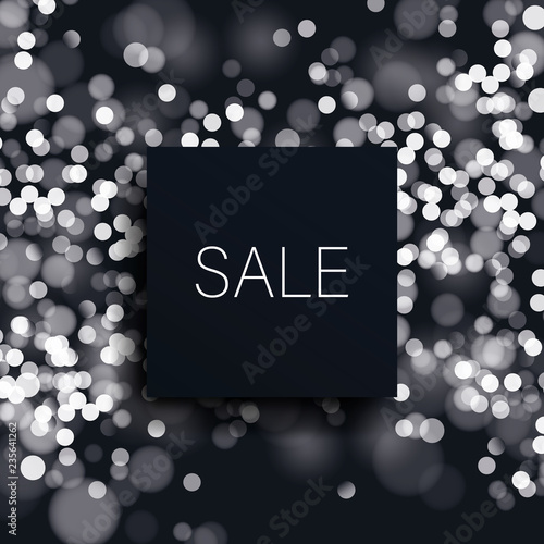 Black big sale vector banner template with blurred bokeh background