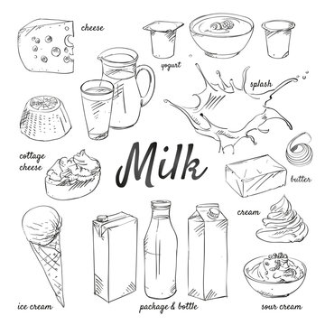 Doodle set of Milk - cream, butter, yogurt, cottage cheese, ice cream, sour cream, drink, splash, package, bottle, glass, hand-drawn. Vector sketch illustration isolated over white background.