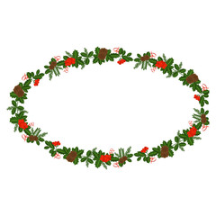 Ellipse frame with Holly berry, pine branch and cones, snowflakes, serpentine and caramel cane. Decoration border for Christmas, New year. For greeting card, vignette, banner, email for holiday.