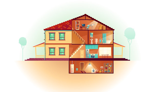 Modern house, two-storey cottage exterior and cross section interiors cartoon vector with laundry in basement, kitchen on first floor, bathroom and toilet upstairs, attic child room illustration