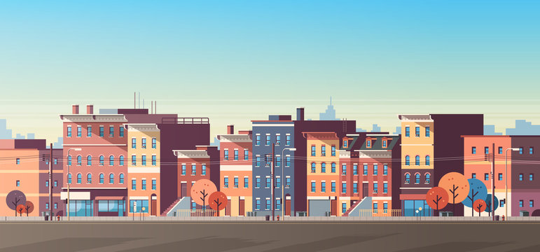 city building houses view skyline background real estate cute town concept horizontal banner flat
