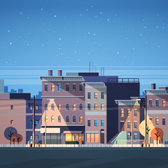 city building houses night view skyline background real estate cute town concept flat