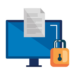 computer desktop with document and padlock