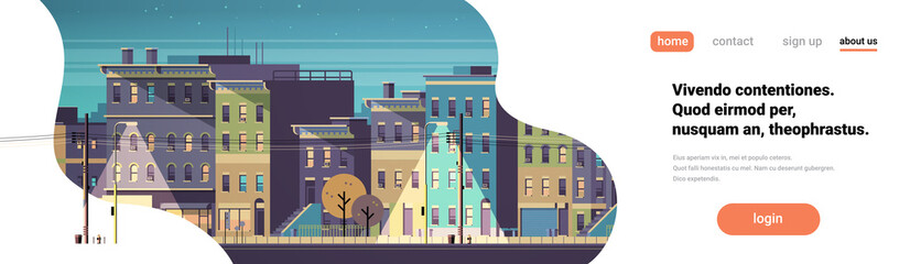 city building houses night view skyline background real estate cute town concept horizontal banner copy space flat