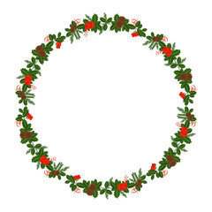 Round frame with Holly berry, pine branch and cones, snowflakes, serpentine and caramel cane. Decoration border for Christmas, New year. For greeting card, vignette, banner, email for holiday.