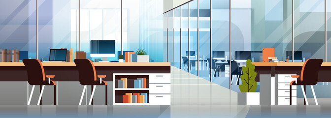Coworking office interior modern center creative workplace environment horizontal banner empty workspace flat