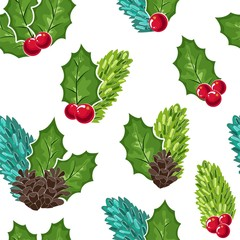 seamless pattern of Cranberries, cones and fir branches and berries. Cowberry Doodle vector illustration in red and green. The cranberries image to your menu and packaging design.Christmas pattern.
