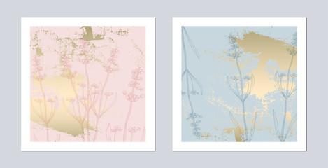 Set of Trendy Romantic Elegant pastel blue Gold Cards