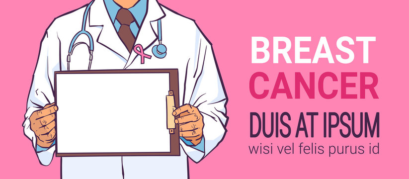 breast cancer day male doctor holding empty clip board disease awareness prevention poster pink background man cartoon character horizontal copy space flat