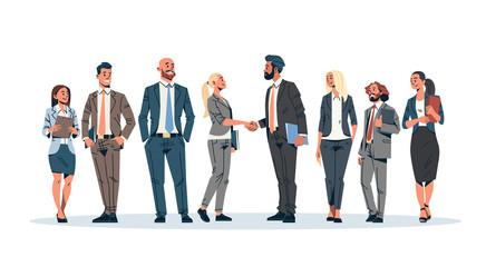 Fototapeta business people group hand shake agreement communicating concept businessmen women team leader meeting male female cartoon character isolated full length horizontal banner flat obraz