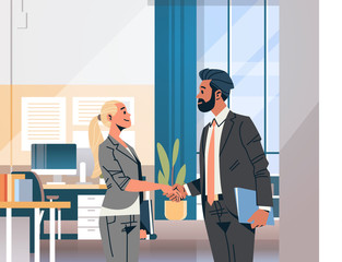 business couple handshake agreement concept businessman woman hand shake partnership communication modern office interior male female cartoon character flat portrait horizontal