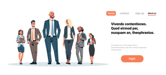 business people team leader businessmen women standing together leadership concept male female cartoon character full length isolated horizontal flat copy space Wall mural