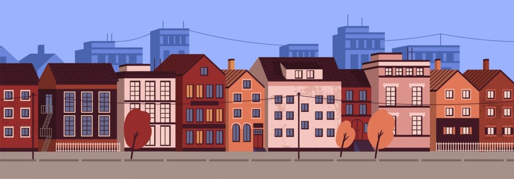 Horizontal urban landscape or cityscape with facades of residential buildings. Street view of district with modern living houses and trees. Colorful vector illustration in flat cartoon style.