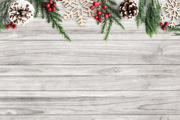 Christmas decorations on table background mockup