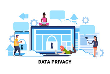 people group padlock computer screen data protection privacy concept team working process cyber security network safety personal information flat horizontal