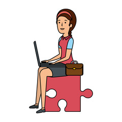 businesswoman sitting in puzzle piece with laptop